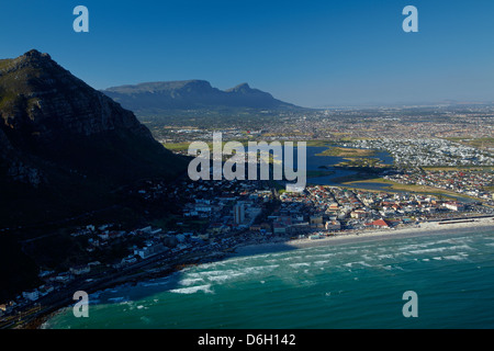 Muizenberg Beach, Cape Town, South Africa - aerial - Stock Photo