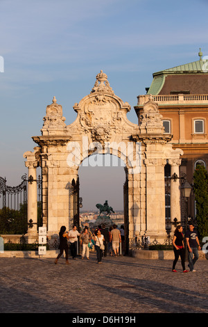 Gate to the Royal Palace (Buda Castle) at sunset in Budapest, Hungary. - Stock Photo