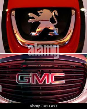 FILE - An archive composite picture shows the logo of a Peugeot 207 in Berlin, Germany, 26 April 2006 and the logo - Stock Photo