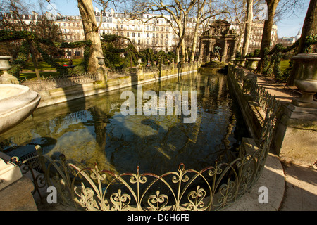 The Medici Fountain in the Luxembourg garden, Paris, France - Stock Photo