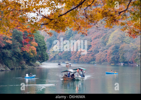 river boats, Arashiyama Sagano area, Kyoto, Japan, Asia - Stock Photo