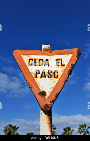 An old Ceda El Paso road sign with a blue sky in Lanzarote, Canary Islands, Spain. - Stock Photo