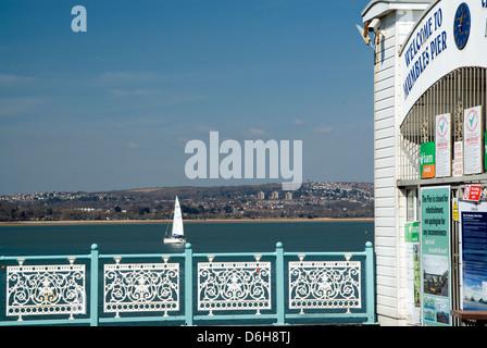 mumbles pier and yacht, mumbles, swansea bay, wales. - Stock Photo