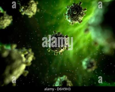 Viral infection, conceptual artwork - Stock Photo