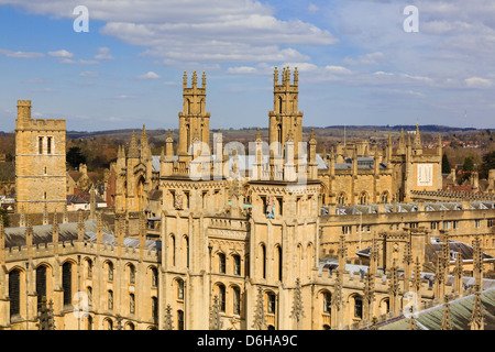 High view of Hawksmoor towers of All Souls College, the all fellows university. Oxford, Oxfordshire, England, UK, - Stock Photo