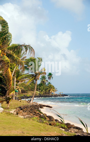 Sally Peaches beach Sally Peachie Big Corn Island Nicaragua Caribbean Sea palm coconut trees - Stock Photo