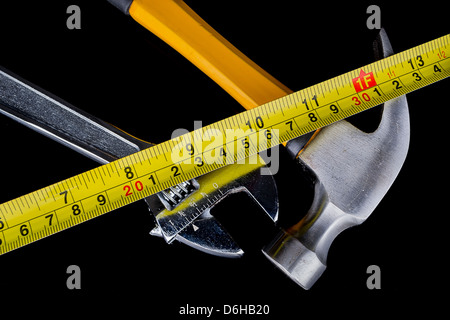 set of tools and instruments on wood background. - Stock Photo