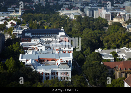 Houses of Parliament and Company's Garden, Cape Town, South Africa - Stock Photo