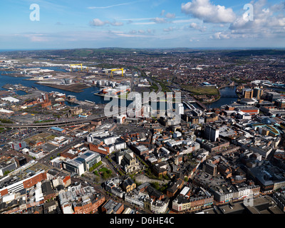 Belfast aerial April 2012 Cathedral Quarter Titanic Building The Mac ,Obel Tower ,The Boat ,river Lagan Northern - Stock Photo
