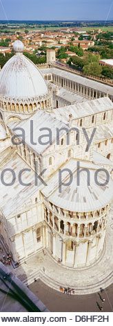View from Leaning Tower to Cathedral Piazza dei Miracoli Pisa Tuscany Italy - Stock Photo