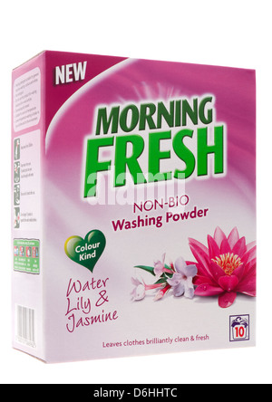 Box of non bio washing powder on white background
