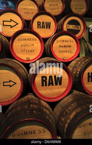 Dublin, Ireland. The Guinness Brewery. Beer barrels. - Stock Photo