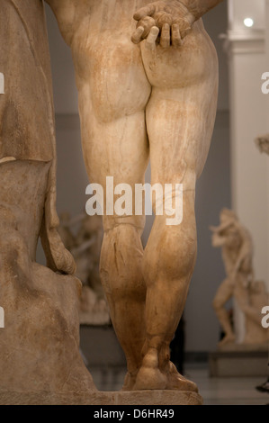 Rear perspective of the Heracles's statue in Naples - Stock Photo