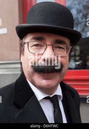 Traditional City Gent In Bowler Hat London UK - Stock Photo