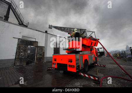 Berlin, Germany, turntable ladder for use in extinguishing Berlin Siemens City - Stock Photo
