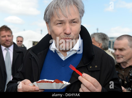 Schoenefeld, Germany, Berlin's governing mayor Klaus Wowereit (SPD) at the airport Berlin Brandenburg Willy Brandt - Stock Photo