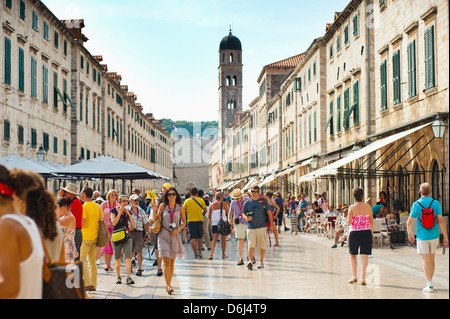 Dubrovnik City Tour on Stradun, Dubrovnik Old Town, UNESCO World Heritage Site, Dubrovnik, Croatia - Stock Photo