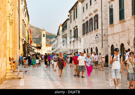 Dubrovnik City Bell Tower on Stradun, Old Town, UNESCO World Heritage Site, Dubrovnik, Dalmatia, Croatia, Europe - Stock Photo