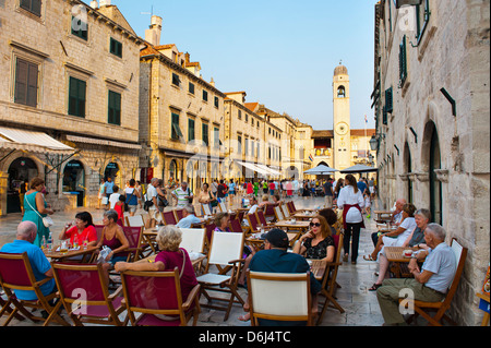 Stradun, the famous street in Dubrovnik, by the City Bell Tower, Old Town, UNESCO Site, Dubrovnik, Dalmatia, Croatia - Stock Photo