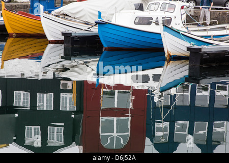 Harbor of Torshavn, Streymoy, Faroe Islands, Denmark, Europe - Stock Photo
