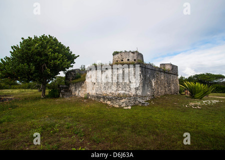 Old British watch tower in Barbuda, Antigua and Barbuda, West Indies, Caribbean, Central America - Stock Photo