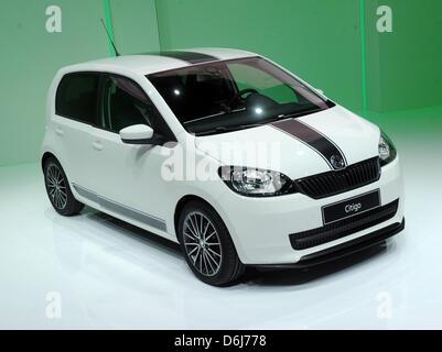 The Skoda Citigo is presented during the Volkswagen presentatation at the International Motor Show in Geneva, Switzerland, - Stock Photo