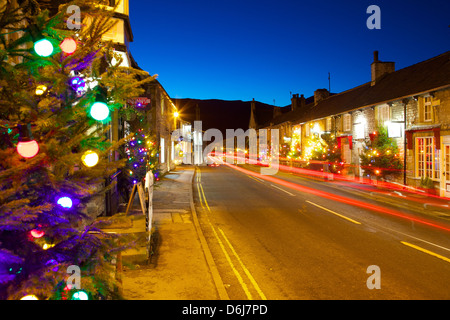 Castleton at Christmas, Peak District National Park, Derbyshire, England, United Kingdom, Europe - Stock Photo