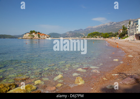Sveti Stefan, Budva Bay, The Budva Riviera, Montenegro, Europe - Stock Photo