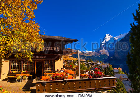 Murren, in the Swiss Alps, with the Eiger behind, Canton Bern, Switzerland - Stock Photo