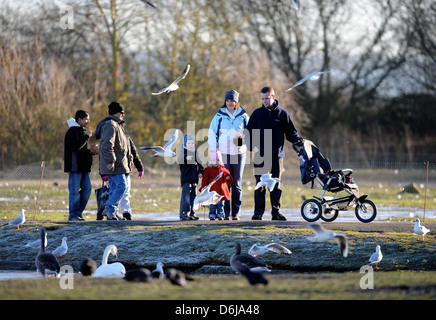 Visitors to The Slimbridge Wildfowl and Wetlands Trust, Gloucestershire UK - Stock Photo