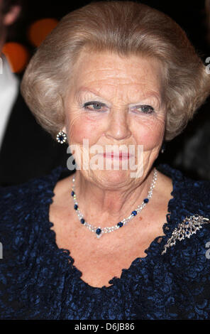 Queen Beatrix of The Netherlands attends the jubilee concert of the master pianists in Amsterdam, The Netherlands, - Stock Photo
