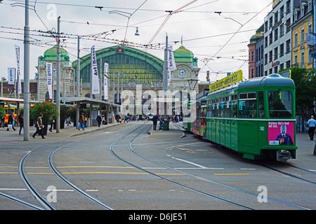 City center trams, Basel, Switzerland, Europe - Stock Photo
