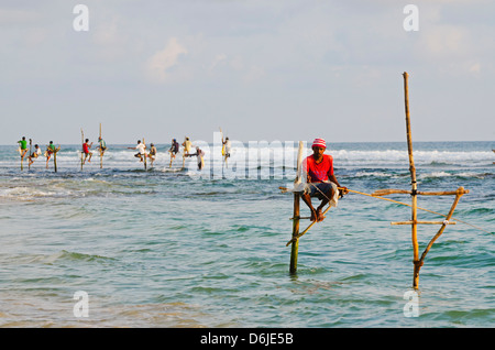 Stilt fishermen, Dalawella, Sri Lanka, Indian Ocean, Asia - Stock Photo