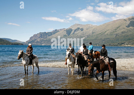 Horseback riding by Guttierez Lake in Estancia Peuma Hue, Patagonia, Argentina, South America