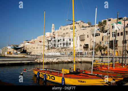 View over the port and Old Jaffa, Tel Aviv, Israel, Middle East - Stock Photo
