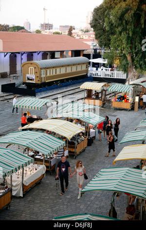 Hatachana marketplace in Neve Tzedek, now popular place with shops and restaurants, Tel Aviv, Israel, Middle East - Stock Photo
