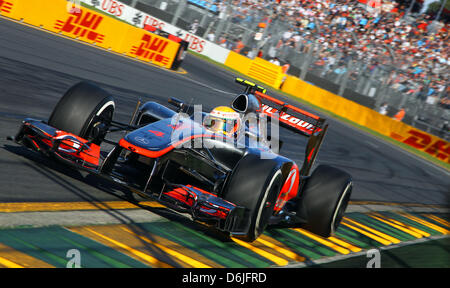 British Formula One driver Lewis Hamilton of McLaren Mercedes drives his car during the Qualifying session of the - Stock Photo