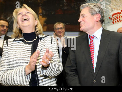 Presidential candidate Joachim Gauck talks to Premier of North Rhine-Westphalia Hannelore Kraft at the star of the - Stock Photo