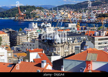 Red tiled roofs in the Historic Centre, Vigo, Galicia, Spain, Europe