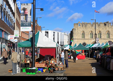 Saturday Market on High Street, Southampton, Hampshire, England, United Kingdom, Europe - Stock Photo