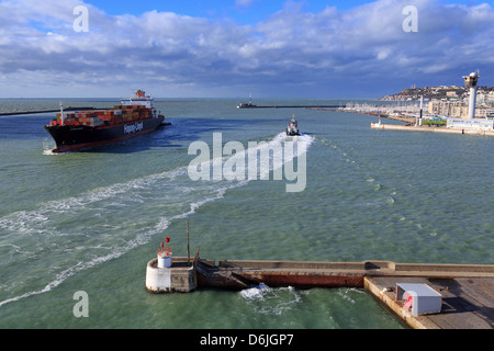 Ship in Le Havre Port, Normandy, France, Europe - Stock Photo