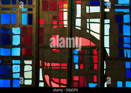 Stained glass in Saint Michel du Havre Church, Le Havre, Normandy, France, Europe - Stock Photo