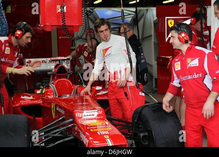 Spanish Formula One driver Fernando Alonso of Ferrari seen during the Australian Formula 1 Grand Prix at the Albert - Stock Photo