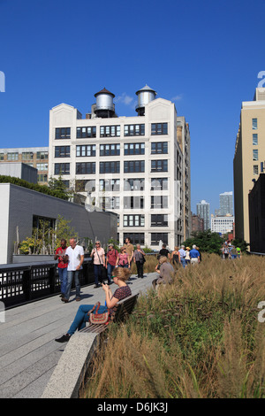 High Line Park, elevated public park on former rail tracks, Manhattan, New York City, United States of America, - Stock Photo
