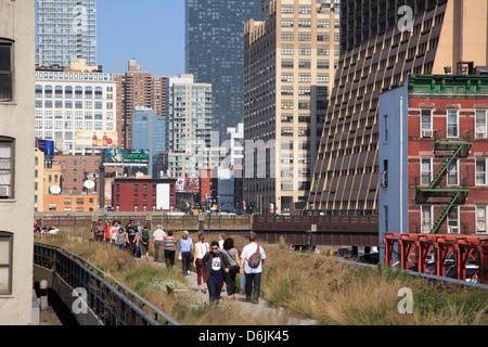 High Line Park, elevated public park on former rail tracks, Manhattan, New York City, United States of America, North America