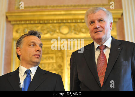 Premier of Bavaria Horst Seehofer (CSU, R) and Hungarian Prime Minister Viktor Orban give a press statement at the - Stock Photo