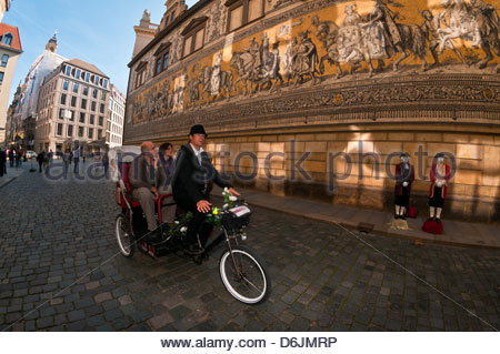The 100 meter long 'Procession of Princes', Augustusstrasse, Dresden, Saxony, Germany - Stock Photo