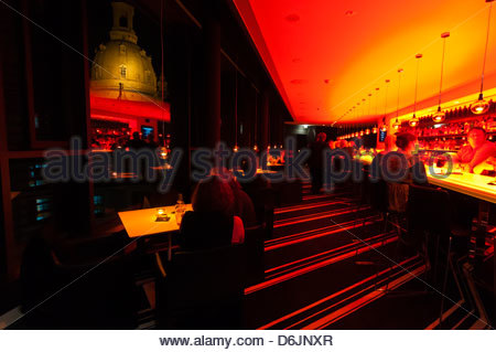 The Sky Bar atop the Innside by Melia Hotel with the Frauenkirche (church) in background, Dresden, Saxony, Germany - Stock Photo