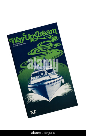 Programme for the 1982 production of Alan Ayckbourn's Way Upstream at the Lyttelton Theatre. - Stock Photo