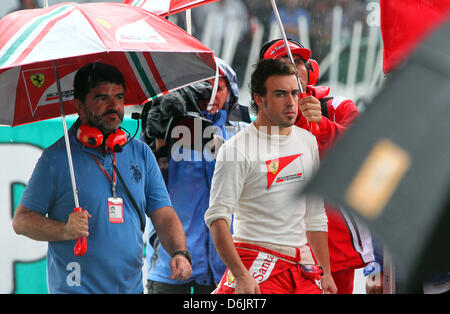 Spanish Formula One driver Fernando Alonso of Ferrari seen during the race interruption at the Formula One Grand - Stock Photo